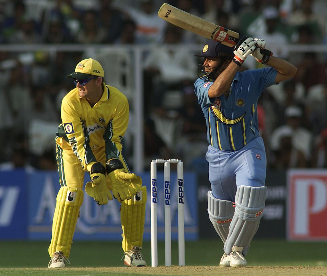 25 Mar 2001:  Virender Sehwag of India hits out, during the first One Day International match between India and Australia played at Chinnaswamay Stadium, Bangalore, India.  X DIGITAL IMAGE  Mandatory Credit: Hamish Blair/ALLSPORT