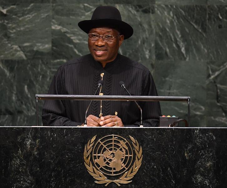 Nigerian President Goodluck Jonathan addresses the 69th session of the United Nations General Assembly in New York, on September 24, 2014 (AFP Photo/Don Emmert)