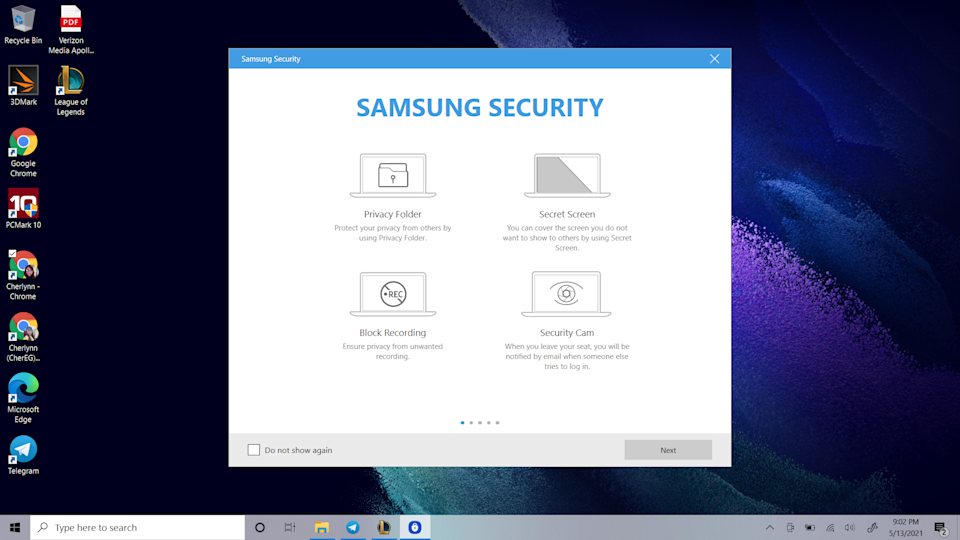 Screenshot from the Samsung Galaxy Book Pro 360 showing the Samsung Security app.