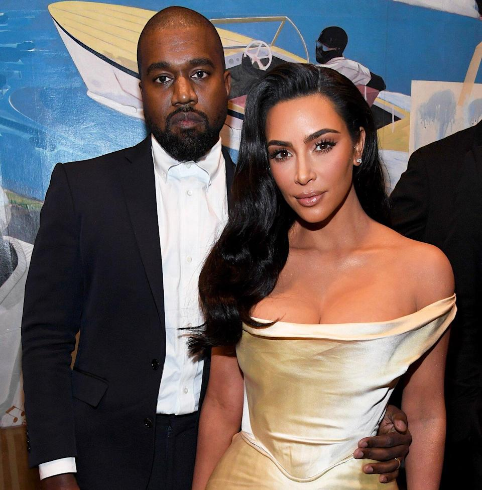 Kanye West and Kim Kardashian West attend Sean Combs 50th Birthday Bash presented by Ciroc Vodka on December 14, 2019 in Los Angeles, California.
