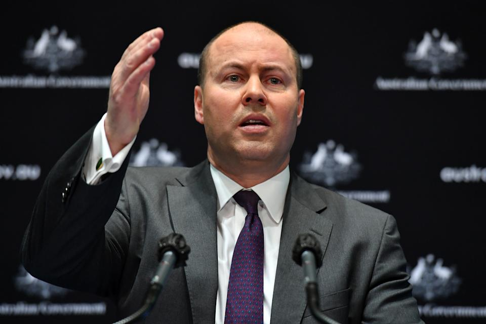 CANBERRA, AUSTRALIA - JULY 23: Treasurer Josh Frydenberg during a press conference in the Main Committee Room at Parliament House on July 23, 2020 in Canberra, Australia. The Federal government has announced an extension to the wage subsidy JobKeeper scheme until the end of March 2021 as the COVID-19 crisis continues to impact Australia's economy. The JobKeeper scheme had been legislated to end in September 2020. The JobSeeker unemployment benefit will also be extended, however payments and eligibility criteria for both programs will be revised from October. (Photo by Sam Mooy/Getty Images)