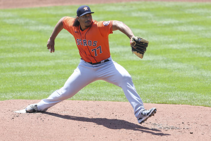 Houston Astros starting pitcher Luis Garcia throws during the first inning of a baseball game against the Toronto Blue Jays in Buffalo, N.Y., Sunday, June 6, 2021. (AP Photo/Joshua Bessex)