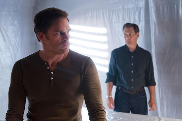 "Michael C. Hall as Dexter Morgan and James Remar as Harry Morgan in the ""Dexter"" Season 8 episode, ""Goodbye Miami."""
