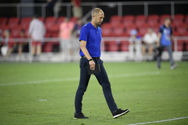 U.S. coach Gregg Berhalter walks off the field after the team's international friendly soccer match against Jamaica, Wednesday, June 5, 2019, in Washington. Jamaica won 1-0. (AP Photo/Nick Wass)