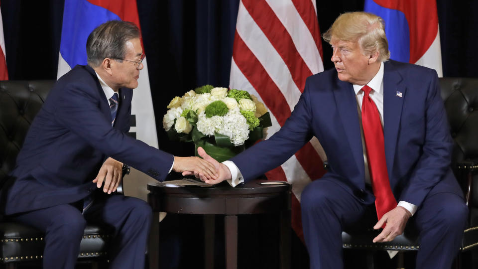 President Donald Trump meets with Korean President Moon Jae-in​ at the InterContinental Barclay hotel during the United Nations General Assembly, Monday, Sept. 23, 2019, in New York. (AP Photo/Evan Vucci)