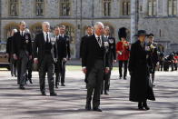 <p>Several members of the Royal Family, including all his children, followed the duke's coffin in procession on its way to St George's Chapel. (Getty)</p>