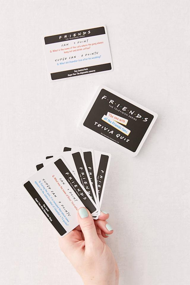 """<p><a href=""""https://www.popsugar.com/buy/Friends-Trivia-Quiz-Card-Game-557745?p_name=Friends%20Trivia%20Quiz%20Card%20Game&retailer=urbanoutfitters.com&pid=557745&price=10&evar1=savvy%3Aus&evar9=47317096&evar98=https%3A%2F%2Fwww.popsugar.com%2Fsmart-living%2Fphoto-gallery%2F47317096%2Fimage%2F47318955%2FFriends-Trivia-Quiz-Card-Game&list1=shopping%2Cmust%20haves%2Ceditors%20pick%2Cspring&prop13=mobile&pdata=1"""" rel=""""nofollow"""" data-shoppable-link=""""1"""" target=""""_blank"""" class=""""ga-track"""" data-ga-category=""""Related"""" data-ga-label=""""https://www.urbanoutfitters.com/shop/friends-trivia-quiz-card-game?category=party-supplies-games&amp;color=010&amp;type=REGULAR&amp;viewcode=b&amp;size=ONE%20SIZE&amp;quantity=1&amp;cm_mmc=rakuten-_-affiliates-_-Popsugar-_-1&amp;utm_medium=affiliates&amp;utm_source=LS&amp;utm_campaign=Popsugar&amp;utm_term=745819&amp;utm_content=1&amp;ranMID=43176&amp;ranEAID=k%2a8oqcSrcmY&amp;ranSiteID=k.8oqcSrcmY-VJx7vtduJfLDW71QaUAPzQ"""" data-ga-action=""""In-Line Links"""">Friends Trivia Quiz Card Game</a> ($10)</p> <p>""""My boyfriend and I are huge fans of the TV show, and as we try to keep ourselves busy at home, this game is the perfect way to pass the time and have some fun."""" - Krista Jones, associate editor, Shop</p>"""