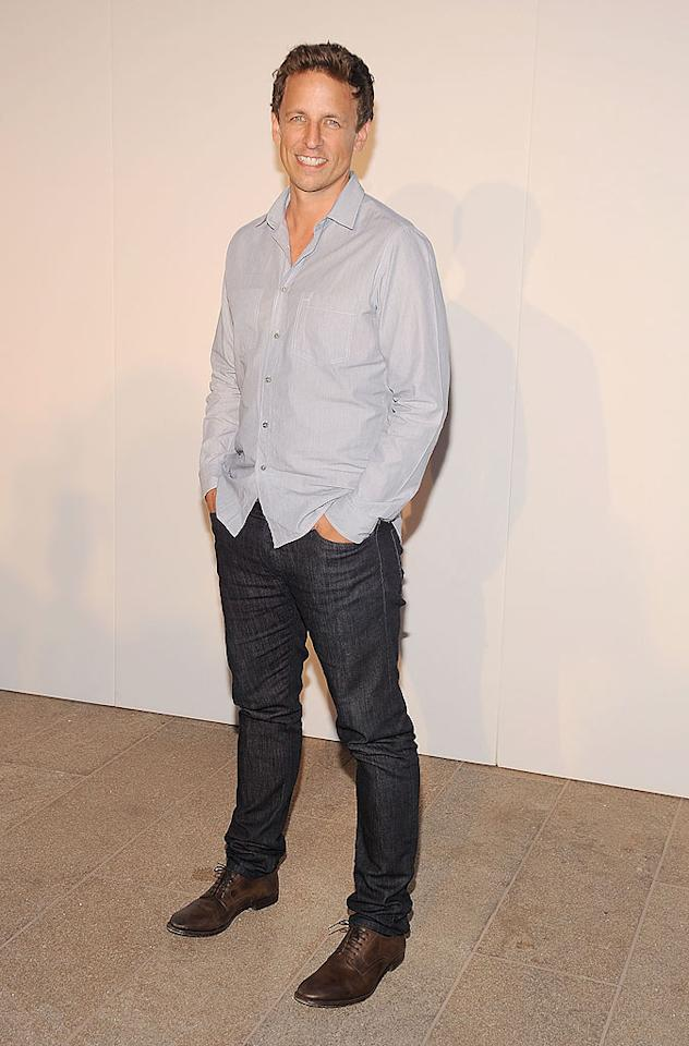 """SNL"" funnyman Seth Myers was casual cool in jeans and a blue shirt. Gary Gershoff/<a href=""http://www.wireimage.com"" target=""new"">WireImage.com</a> - September 7, 2010"