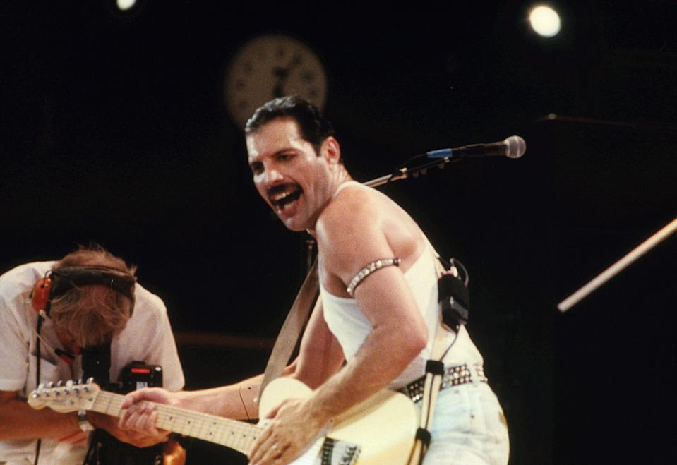 Lead singer of Queen, Freddie Mercury on stage.
