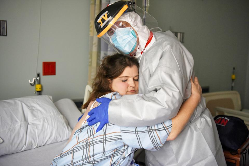 Dr. Joseph Varon, 58, the chief medical officer at United Memorial Medical Center, hugs Christina Mathers, 43, a nurse from his team who became infected with COVID-19, in Houston, Texas, U.S., July 25, 2020. (Photo: REUTERS/Callaghan O'Hare)