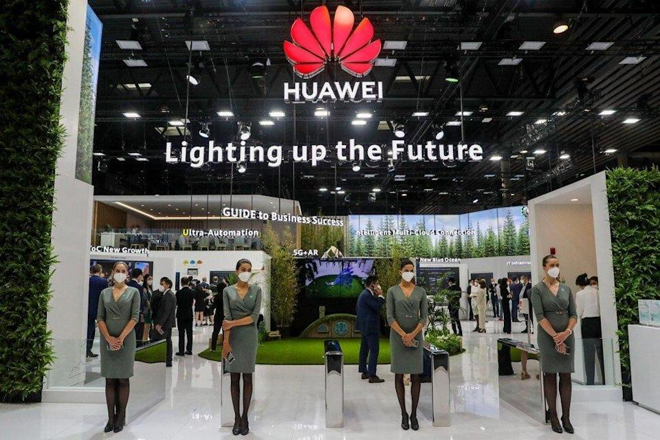 Workers wait for attendees by the entrance to the private Huawei Technologies Co pavilion on the opening day of the MWC Barcelona trade show in Barcelona, Spain, on June 28, 2021. Photo: Bloomberg