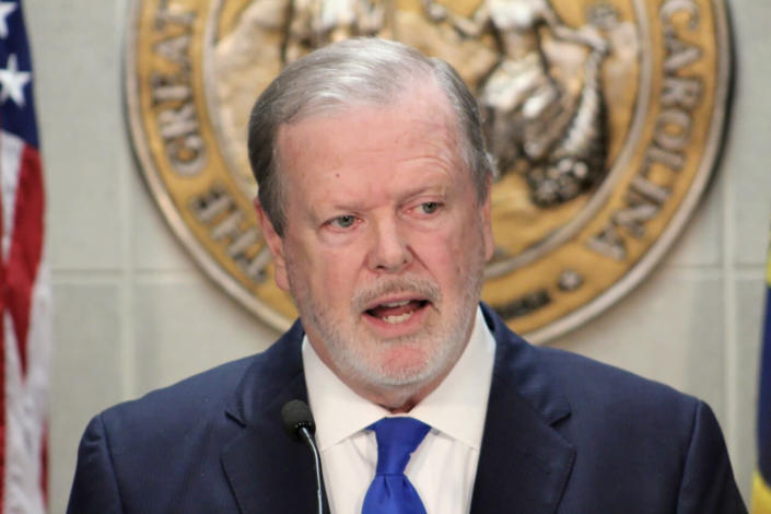North Carolina Republican Senate leader Phil Berger speaks at a news conference on Wednesday, July 14, 2021, in the Legislative Building in Raleigh, N.C. North Carolina Republicans are moving forward with a plan to limit how teachers can discuss certain racial concepts inside the classroom, according to the state's most powerful senator. Berger said his chamber will advance a measure seeking to ban the promotion of critical race theory in K-12 public school classrooms. (AP Photo/Bryan Anderson)