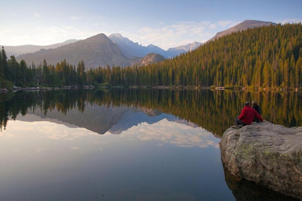 <p><strong>Bear Lake </strong>is a tranquil mountain lake in Rocky Mountain National Park, Colorado. </p>