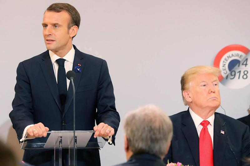 Donald Trump taunted France over the world wars days after appearing with Emmanuel Macron at First World War centenary events (EPA)