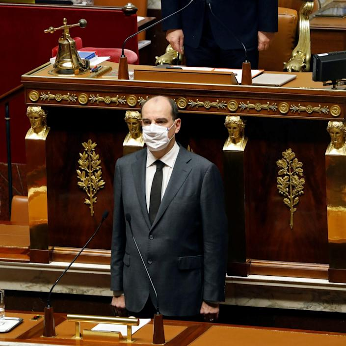 French Prime Minister Jean Castex leads a minute of silence for the victims of the Nice knife attack - CHARLES PLATIAU/REUTERS