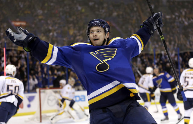 FILE - In this Nov. 13, 2014, file photo, St. Louis Blues' Vladimir Tarasenko, of Russia, celebrates after scoring during the second period of an NHL hockey game against the Nashville Predators in St. Louis. The 23-year-old St. Louis Blues forward is among the top goal-scorers in the NHL. (AP Photo/Jeff Roberson, File)