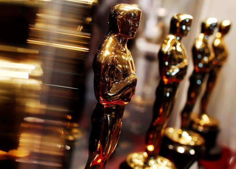 """FILE PHOTO: Oscar statuettes are displayed at the """"Meet the Oscars"""" exhibit in New York"""