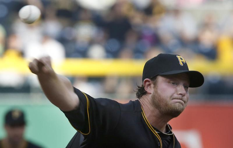 Pittsburgh Pirates starting pitcher Gerrit Cole throws in the first inning of the baseball game against the Milwaukee Brewers on Friday, June 28, 2013, in Pittsburgh. (AP Photo/Keith Srakocic)
