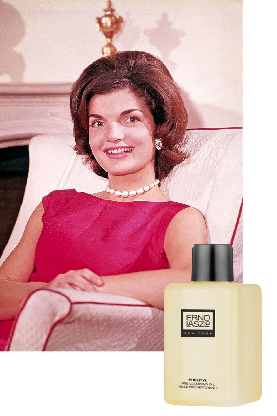 "<p>Kennedy used yet another Erno Lazlo product on her face, which is no surprise considering the former First Lady was a client of the famed dermatologist. <a href=""https://www.vogue.com/article/jackie-natalie-portman-jacqueline-kennedy-beauty-rules-golden-globes-2017"" rel=""nofollow noopener"" target=""_blank"" data-ylk=""slk:According to Vogue,"" class=""link rapid-noclick-resp"">According to <em>Vogue,</em></a> Jackie's favorite face oil was an early version of Lazlo's <a href=""https://www.ernolaszlo.com/phelityl-pre-cleansing-oil.html"" rel=""nofollow noopener"" target=""_blank"" data-ylk=""slk:Phelityl Pre Cleansing Oil"" class=""link rapid-noclick-resp"">Phelityl Pre Cleansing Oil</a>, which is still available to buy today. </p><p><a class=""link rapid-noclick-resp"" href=""https://go.redirectingat.com?id=74968X1596630&url=https%3A%2F%2Fwww.ernolaszlo.com%2Fphelityl-pre-cleansing-oil.html&sref=https%3A%2F%2Fwww.goodhousekeeping.com%2Flife%2Fentertainment%2Fg33481959%2Fjackie-kennedy-beauty-tips%2F"" rel=""nofollow noopener"" target=""_blank"" data-ylk=""slk:SHOP NOW"">SHOP NOW</a> <em>Phelityl Pre-Cleansing Oil, $58</em><br></p>"