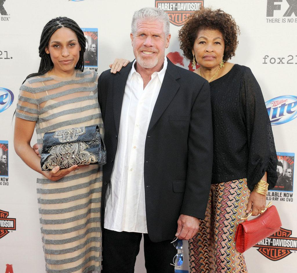 "Blake Perlman, Ron Perlman and Opal Stone attend the ""Sons of Anarchy"" Season 5 premiere screening at Westwood Village on September 8, 2012 in Los Angeles, California."