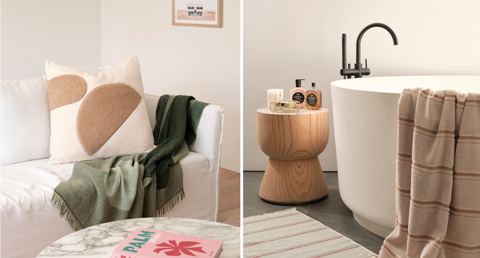 Two photos of a lounge room with pale cushion and an olive blanket, and a bathroom on the right with a towel hanging over the bath tub.
