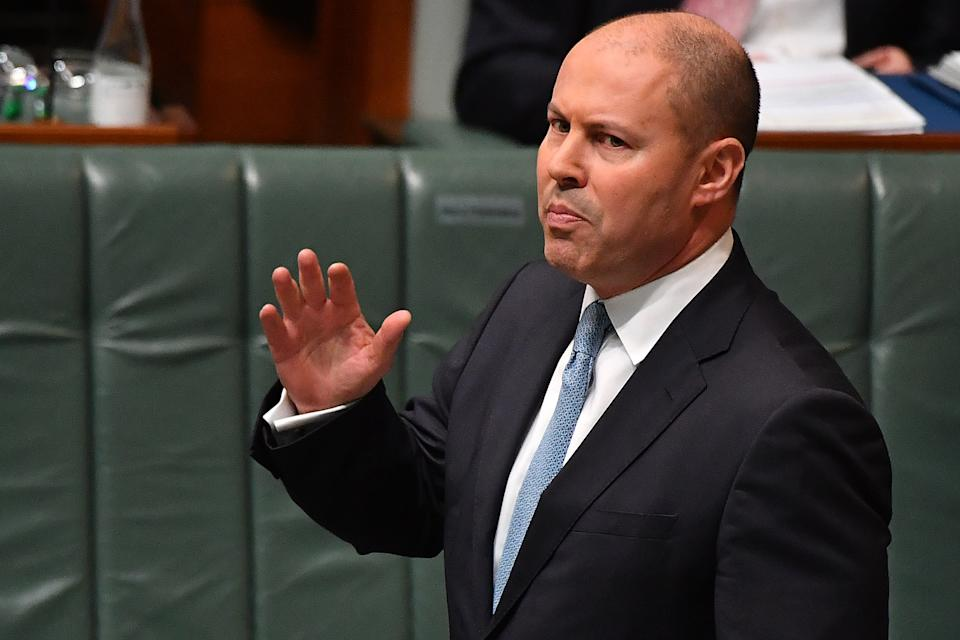 CANBERRA, AUSTRALIA - JUNE 02: Treasurer Josh Frydenberg during Question Time in the House of Representatives at Parliament House on June 02, 2021 in Canberra, Australia. Australian Gross Domestic Product (GDP) rose 1.8 per cent in seasonally adjusted chain volume terms in the March quarter 2021, according to figures released by the Australian Bureau of Statistics (ABS) today. (Photo by Sam Mooy/Getty Images)