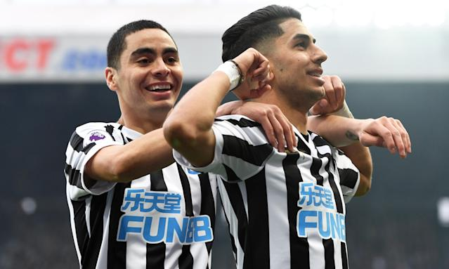 "Former Atlanta United playmaker <a class=""link rapid-noclick-resp"" href=""/soccer/players/490284/"" data-ylk=""slk:Miguel Almiron"">Miguel Almiron</a> (left) and his Newcastle squad are feeling good about their chances of Premier League survival. (The Guardian)"