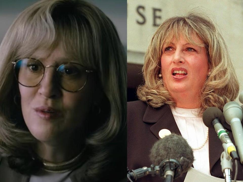 Sarah Paulson (left) portrays Linda Tripp (right) in 'Impeachment: American Crime Story' (Left: YouTube/FX – Right: WILLIAM PHILPOTT/AFP via Getty Images)