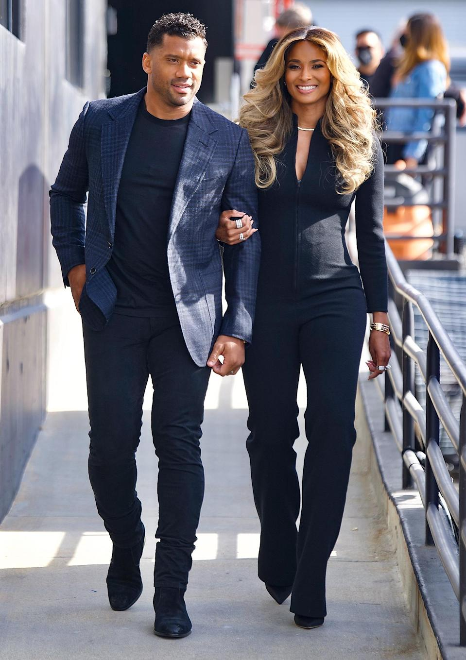 <p>Russell Wilson and Ciara look gorgeous as they leave a studio where they filmed a secret TV special on Thursday in L.A.</p>