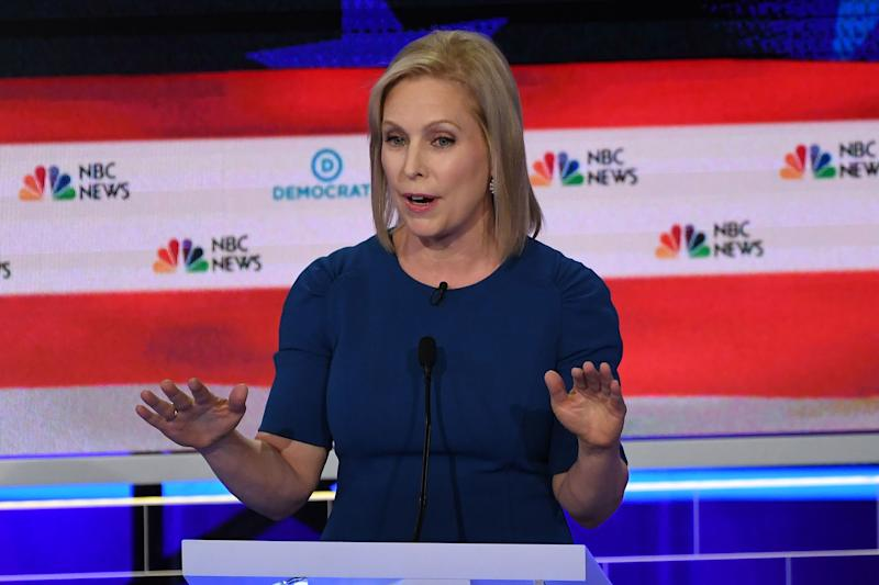 Democratic presidential hopeful US Senator for New York Kirsten Gillibrand speaks during the second Democratic primary debate of the 2020 presidential campaign season hosted by NBC News at the Adrienne Arsht Center for the Performing Arts in Miami, Florida, June 27, 2019. | Saul Loeb—AFP/Getty Images