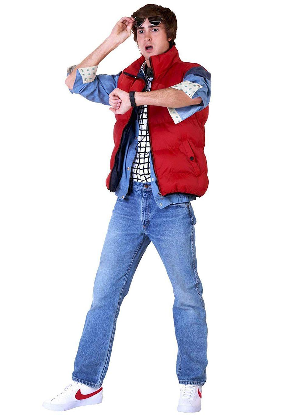 """<p><strong>Fun Costumes</strong></p><p>amazon.com</p><p><strong>$69.99</strong></p><p><a href=""""https://www.amazon.com/dp/B00G4HOCT8?tag=syn-yahoo-20&ascsubtag=%5Bartid%7C10070.g.22646261%5Bsrc%7Cyahoo-us"""" rel=""""nofollow noopener"""" target=""""_blank"""" data-ylk=""""slk:SHOP NOW"""" class=""""link rapid-noclick-resp"""">SHOP NOW</a></p><p>To complete your <em>Back to the Future </em>look, all you need is a friend to dress as Doc and a DeLorean. Should be easy, right? </p>"""