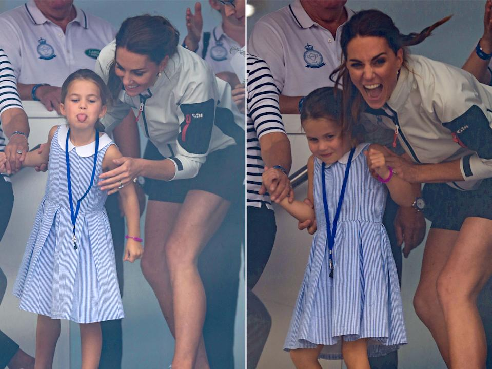 Kate caught her daughter poking her tongue out at the King's Cup Regatta, but found it funny. Perhaps cheekiness runs in the family? Pictured in 2019. (Getty)