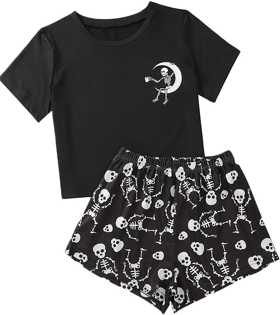 <p>Have some skele-fun with your pajamas with this <span>SweatyRocks Women's Cute Graphic Print Pajama Set</span> ($20). The two-piece set comes with a crop top and shorts. </p>