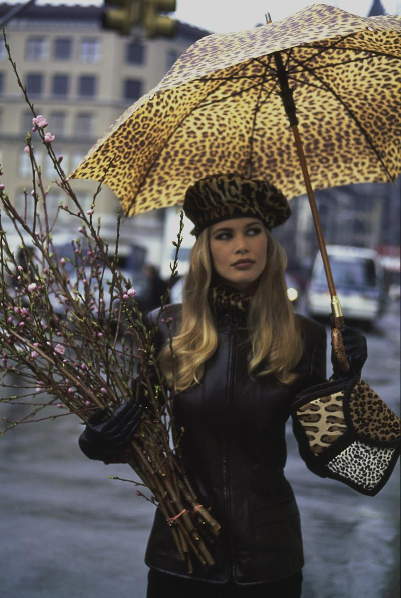 Claudia Schiffer carrying an animal print bag by Renaud Pellegrino.