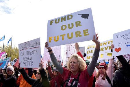 FILE PHOTO:    Teachers rally outside the state Capitol on the second day of a teacher walkout to demand higher pay and more funding for education in Oklahoma City