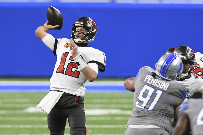 Tampa Bay Buccaneers quarterback Tom Brady (12) throws during the first half of an NFL football game against the Detroit Lions, Saturday, Dec. 26, 2020, in Detroit. (AP Photo/Lon Horwedel)