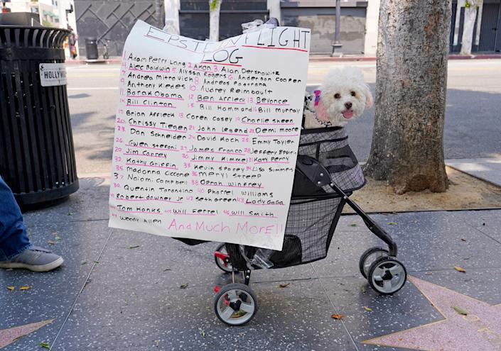 """A sign at a Save Our Children rally in Los Angeles, Aug. 22, 2020. <span class=""""copyright"""">Jamie Lee Curtis Taete</span>"""