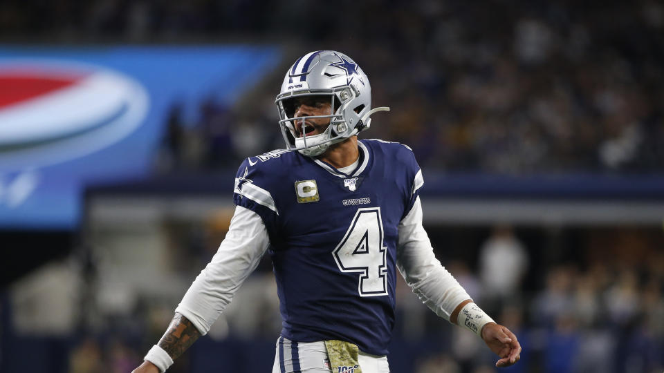 Dallas Cowboys quarterback Dak Prescott (4) walks up to the line of scrimmage during an NFL football game against the Minnesota Vikings in Arlington, Texas, Sunday, Nov. 10, 2019. (AP Photo/Ron Jenkins)