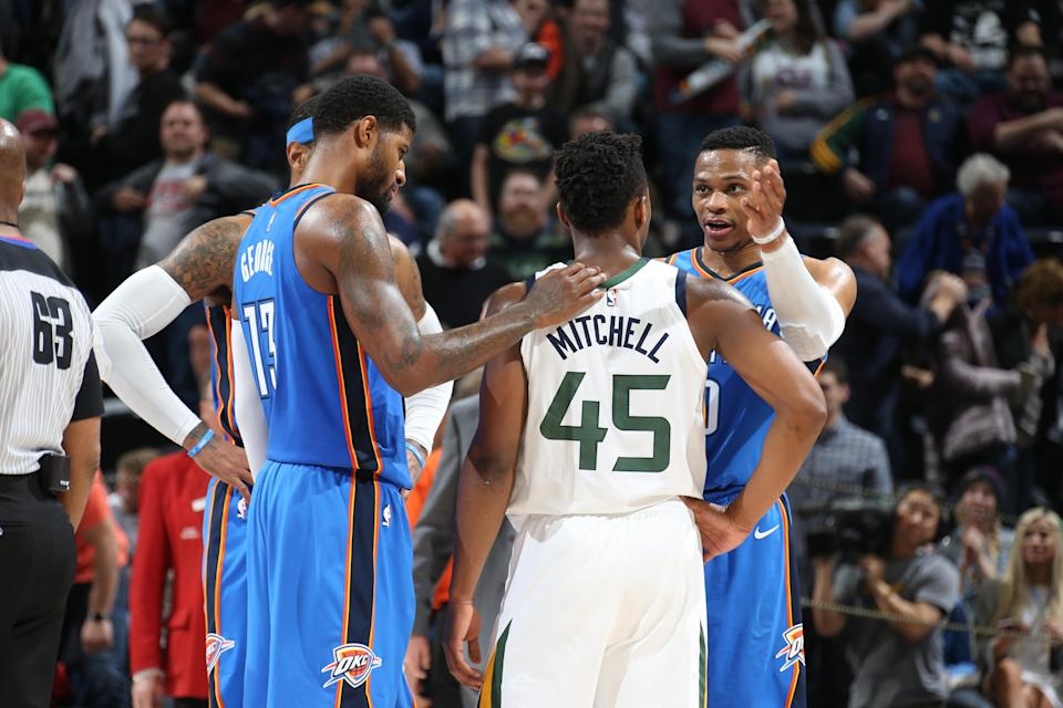 Donovan Mitchell can bank on a lot of attention from Paul George, Russell Westbrook and the rest of the Oklahoma City defense. (Getty)