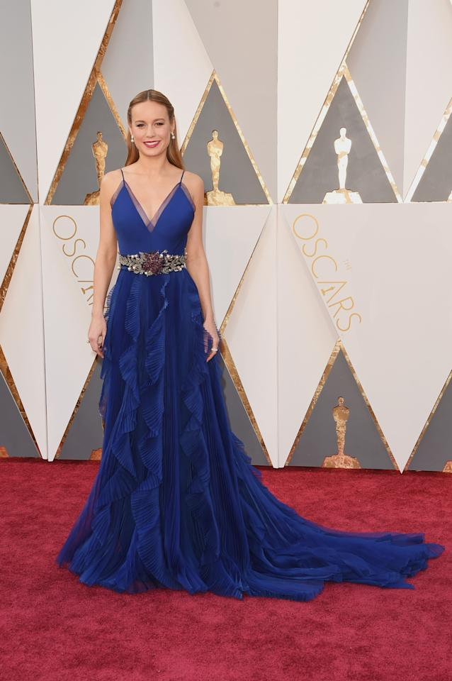 "<p>Did somebody tell the ""Room"" actress she's apparently more likely to win an Oscar if she wears a Gucci gown? We're torn when it comes to this dress – we love it from the waist up, but weren't blown away by the frilly skirt. <i>(Photo by Jason Merritt/Getty Images)</i><br /></p>"