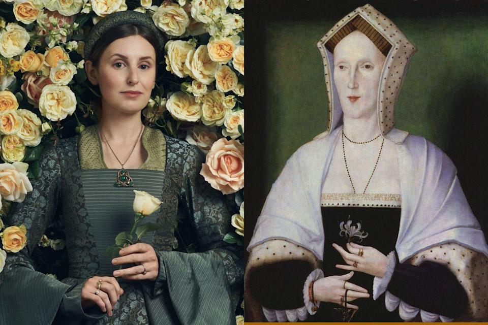 """<p>Most fans of period drama will recognize Laura Carmichael from her role as <a href=""""https://www.townandcountrymag.com/leisure/arts-and-culture/a22139335/downton-abbey-movie-news/"""" rel=""""nofollow noopener"""" target=""""_blank"""" data-ylk=""""slk:Lady Edith on"""" class=""""link rapid-noclick-resp"""">Lady Edith on </a><em><a href=""""https://www.townandcountrymag.com/leisure/arts-and-culture/a22139335/downton-abbey-movie-news/"""" rel=""""nofollow noopener"""" target=""""_blank"""" data-ylk=""""slk:Downton Abbey"""" class=""""link rapid-noclick-resp"""">Downton Abbey</a></em>, but in <em>The Spanish Princess </em>she plays Margaret Pole, Prince Arthur's guardian, and the cousin of King Henry VII's wife, Elizabeth of York.</p>"""