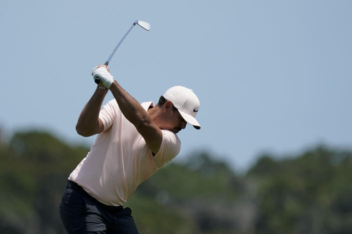 Brooks Koepka hits on the 15th hole during a practice round at the PGA Championship golf tournament on the Ocean Course Tuesday, May 18, 2021, in Kiawah Island, S.C. (AP Photo/Matt York)