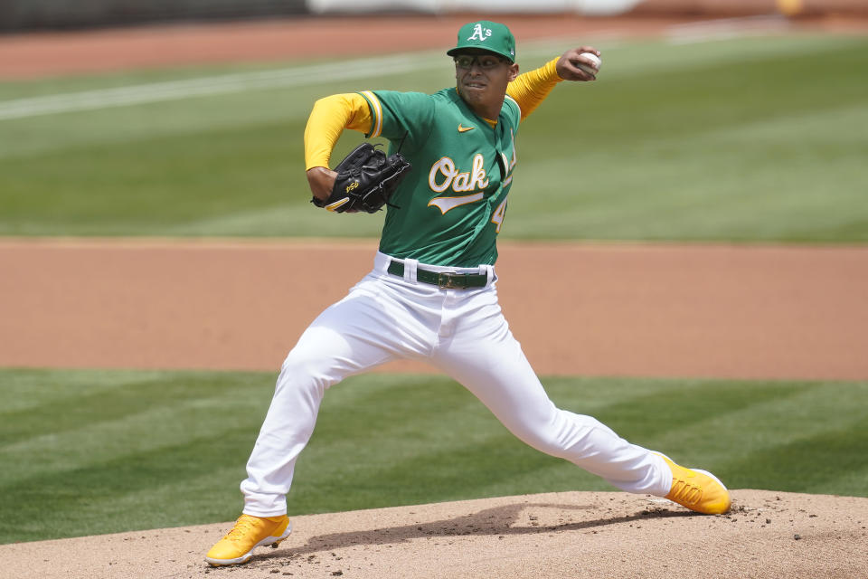 Oakland Athletics' Jesus Luzardo pitches against the Baltimore Orioles during the first inning of a baseball game in Oakland, Calif., Saturday, May 1, 2021. (AP Photo/Jeff Chiu)