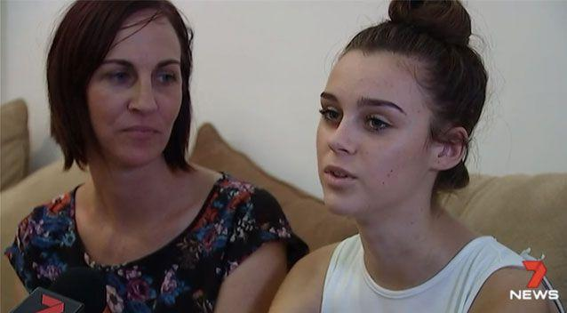 Mercedes King (right) was close to death after a horror case of the flu. Source: 7 News