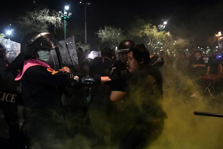 Police chased demonstrators away from the area, firing rubber bullets and tear gas