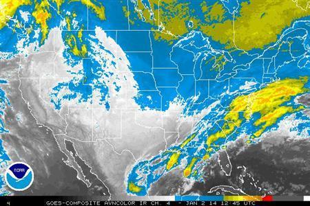 Storm systems are seen over the United States in an infrared satellite image from the NOAA taken January 2, 2014. REUTERS/Handout via NOAA