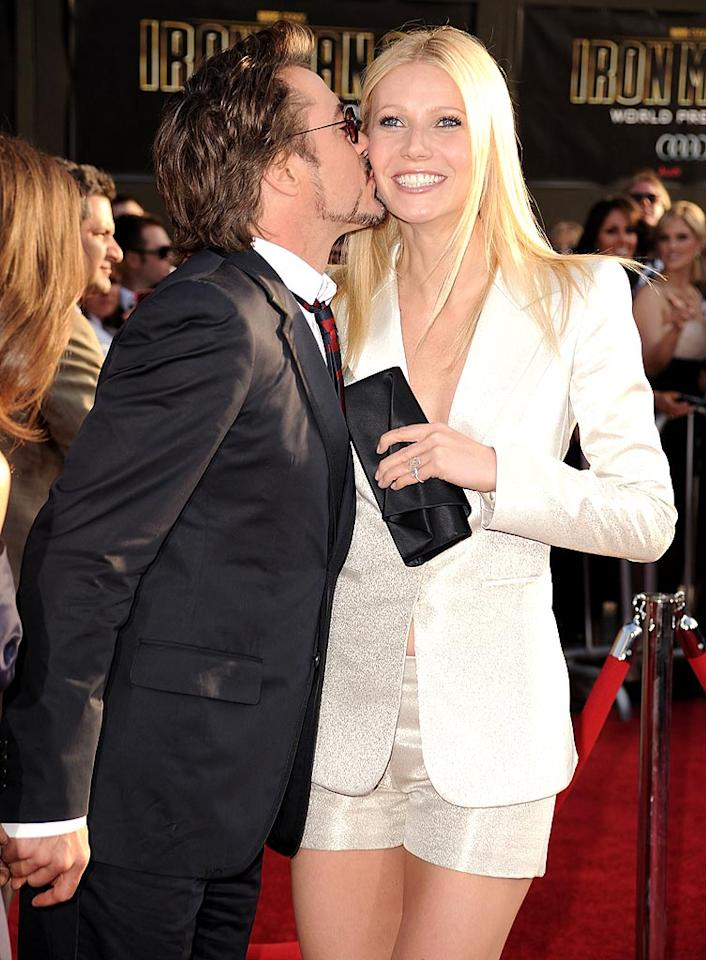 """Although Robert Downey Jr. said he was worried he might """"creep out"""" Gwyneth Paltrow while the two filmed an on-screen kiss for """"Iron Man 2"""" in front of their spouses, he wasn't shy about giving her a smooch at the world premiere. Steve Granitz/<a href=""""http://www.wireimage.com"""" target=""""new"""">WireImage.com</a> - April 26, 2010"""