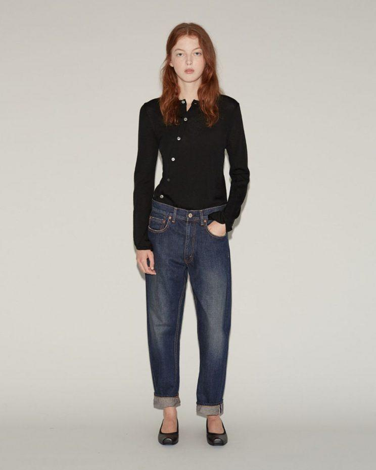 Junya Watanabe, Japanese designer and Rei Kawakubo protegé, sells these selvedge denim jeans for $410. (Photo: Courtesy of Lyst)