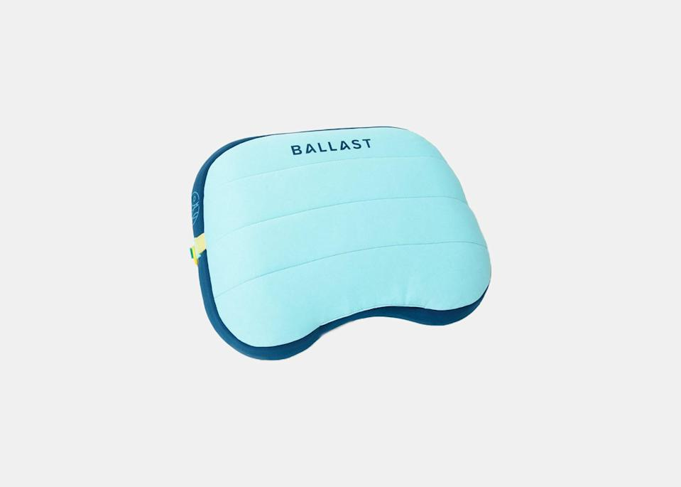 """As the leader of a family of six, Langford has few moments to relax, but when she does, she takes advantage. """"Once you've got everyone else settled, get out your book and quickly inflate your Ballast Beach Pillow,"""" she says. Compact and padded, this beach pillow can be paired with <a href=""""https://amzn.to/33Ve45t"""" rel=""""nofollow noopener"""" target=""""_blank"""" data-ylk=""""slk:cooling gel packs"""" class=""""link rapid-noclick-resp"""">cooling gel packs</a> for extra climate comfort; if you tend to overheat at the beach, slip a pack into your cooler, then into the pillow's sleeve when you need some relief. $35, Amazon. <a href=""""https://www.amazon.com/Ballast-Beach-Pillow-Inflatable-Camping/dp/B08GL5Y1FM"""" rel=""""nofollow noopener"""" target=""""_blank"""" data-ylk=""""slk:Get it now!"""" class=""""link rapid-noclick-resp"""">Get it now!</a>"""