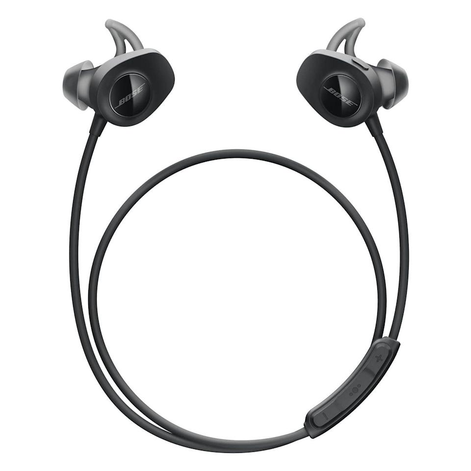 """<p><strong>Bose</strong></p><p>amazon.com</p><p><strong>$129.00</strong></p><p><a href=""""https://www.amazon.com/dp/B01L7PSJFO?tag=syn-yahoo-20&ascsubtag=%5Bartid%7C2141.g.36665348%5Bsrc%7Cyahoo-us"""" rel=""""nofollow noopener"""" target=""""_blank"""" data-ylk=""""slk:Shop Now"""" class=""""link rapid-noclick-resp"""">Shop Now</a></p><p><em>IPX4   6 hours</em></p><p>Technically, there's a wire connecting these earbuds, but it doesn't connect to your phone, meaning you'll get all the benefits of Bluetooth <em>plus</em> the ability to <strong>leave a bud dangling with no fear of losing it</strong>. Runners and walkers, these are meant for you. """"The fit is perfect,"""" one reviewer raves. """"I run in them, and they don't fall out. Easy controls (volume, song skip), and even a fun color. Excellent sound.""""</p>"""